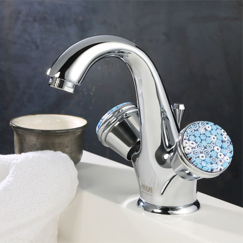 2-handle washbasin mixer chrome handle made with Murano glass and pop-up waste,<br>AN: 181CR0623