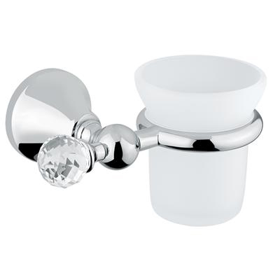 Wall mounted glass toothbrush tumbler with holder chrome and original Swarovski Crystal,<br>AN: 19CRA120