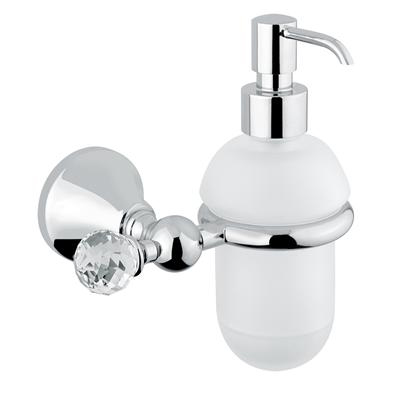Wall mounted glass liquid soap dispenser with holder chrome and original Swarovski Crystal,<br>AN: 19CRA220