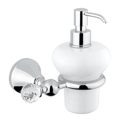Wall mounted ceramic liquid soap dispenser with holder chrome and original Swarovski Crystal,<br>AN: 19CRA221