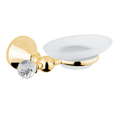 Wall mounted glass soap dish with holder gold and original Swarovski Crystal,<br>AN: 19OOA020