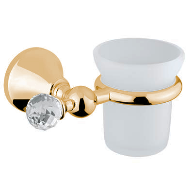 Wall mounted glass toothbrush tumbler with holder gold and original Swarovski Crystal,<br>AN: 19OOA120