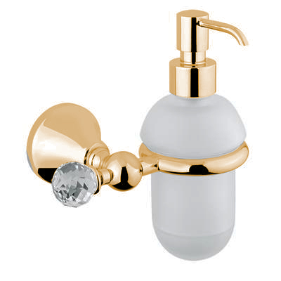 Wall mounted glass liquid soap dispenser with holder gold and original Swarovski Crystal,<br>AN: 19OOA220