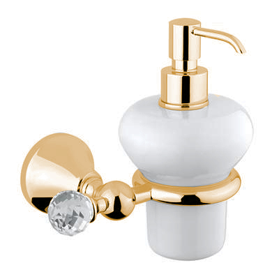 Wall mounted ceramic liquid soap dispenser with holder gold and original Swarovski Crystal,<br>AN: 19OOA221