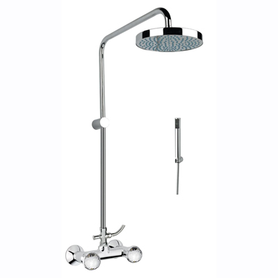 2-handle shower mixer with combination column chrome and original Swarovski Crystal handles,<br>AN: 17CR0518