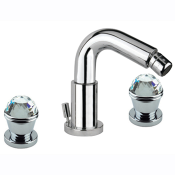 3-holes bidet mixer chrome with original Swarovski Crystal handle and pop-up waste,<br>AN: 17CR0538