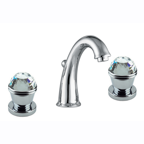 3-holes washbasin mixer chrome with original Swarovski Crystal handle and pop-up waste,<br>AN: 17CR0628