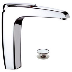 High single lever washbasin mixer chrome with click-clack waste with overflow,<br>AN: A10L