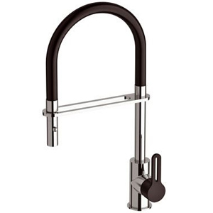 Single lever sink mixer black and chrome with swing arm shower<br>AN: SR542