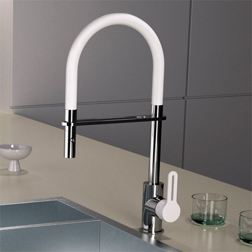 Single lever sink mixer white and chrome with swing arm shower<br>AN: SR546