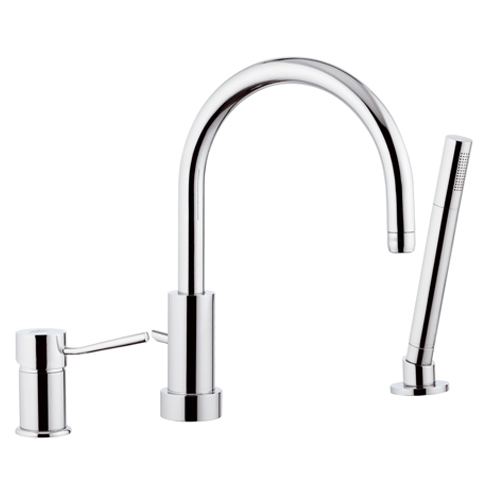 3-holes deck mounted mixer with spout and shower chrome,<br>AN: N07