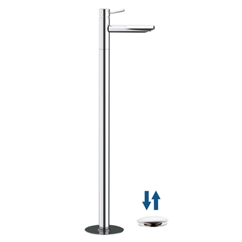 Single lever washbasin mixer for floor mounting chrome with click-clack waste,<br>AN: N18