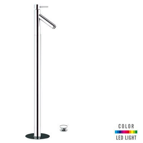 Single lever washbasin mixer for floor mounting chrome with click-clack waste and Color LED Light,<br>AN: NR18