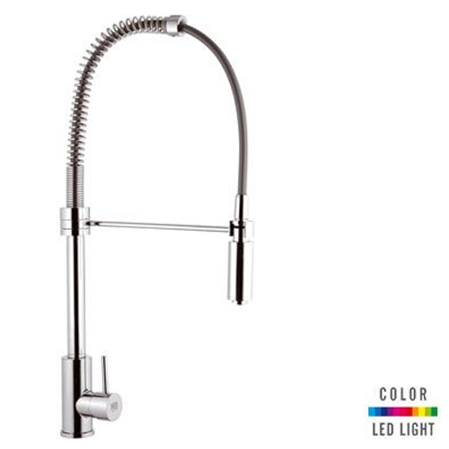 Single lever sink mixer chrome with swing arm shower and Color LED Light,<br>AN: NR772