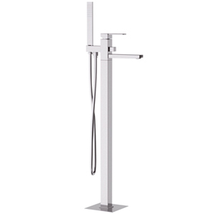 Floor mounting square single lever bathtub mixer with shower set chrome, <br>AN: Q08
