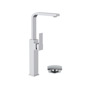 High square single lever washbasin mixer with swivel spout and click-clack waste chrome, <br>AN: Q10GL