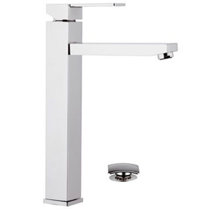 High square single lever washbasin mixer with click-clack waste chrome, <br>AN: Q10L