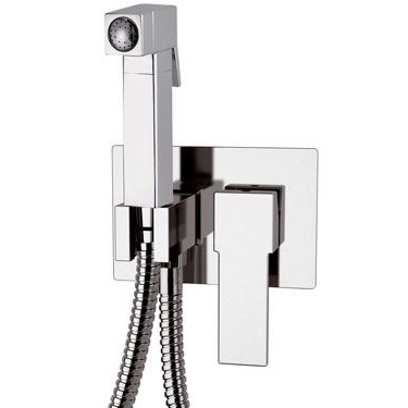 Square built-in single lever bidet mixer with shut-off shower chrome, <br>AN: Q60