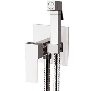 Square built-in single lever bidet mixer with shut-off shower chrome, <br>AN: Q65