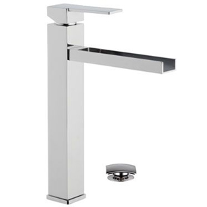 High square single lever washbasin mixer with long waterfall spout and click-clack waste chrome, <br>AN: QC10LB