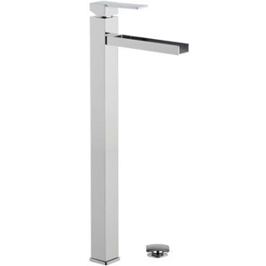 Extra high square single lever washbasin mixer with waterfall spout and click-clack waste chrome, <br>AN: QC10LXXL