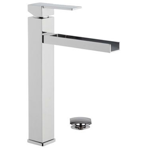 High square single lever washbasin mixer with waterfall spout and click-clack waste chrome, <br>AN: QC10L