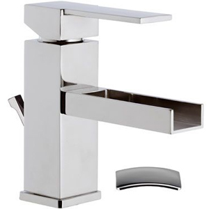 Square single lever washbasin mixer with waterfall spout and pop-up waste chrome, <br>AN: QC10