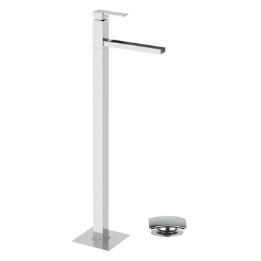 Floor mounting square single lever washbasin mixer with waterfall spout and click-clack waste chrome, <br>AN: QC18