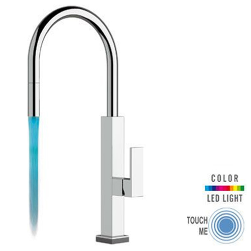 Sink mixer chrome with TOUCH-ME PRO technology and COLOR LED LIGHT with pull-out handshower,<br>AN: QKTR73