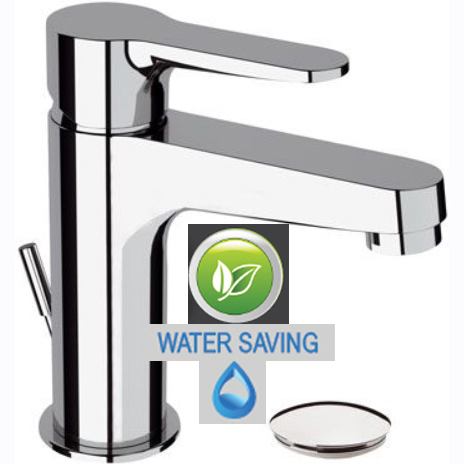 Single lever water saving washbasin mixer chrome with pop-up waste, <br>AN: WE10LT8