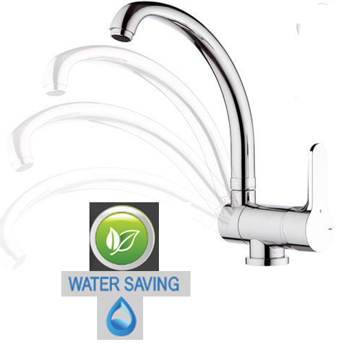 Stowable single lever water saving sink mixer chrome for installation under-window, <br>AN: WE42RLT8