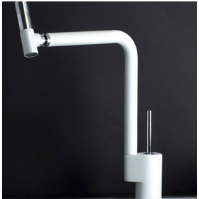 Sink mixer with joystick mixing technique and 360° swivel spout matt white and chrome handle,<br>AN: TS920301744