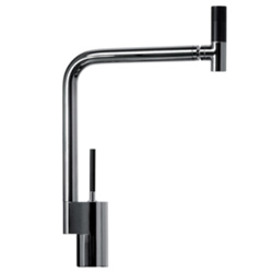Sink mixer with joystick mixing technique and 360° swivel spout chrome and anodized black handle,<br>AN: TS920301779