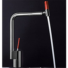 Sink mixer with joystick mixing technique and 360° swivel spout chrome and anodized red handle,<br>AN: TS920301784