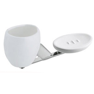 Wall mounted ceramic soap dish and tumbler with holder chrome,<br>AN: AI501101015