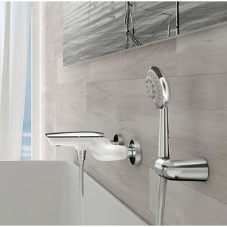Single lever bathtub mixer shiny white handle chrome with shower set,<br>AN: AI850101844