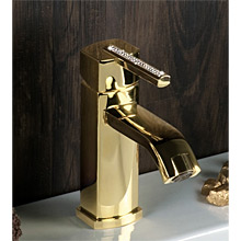 Single lever washbasin mixer gold 24 karat, handle with Swarovski Crystals and pop-up waste,<br> AN: AS830101010