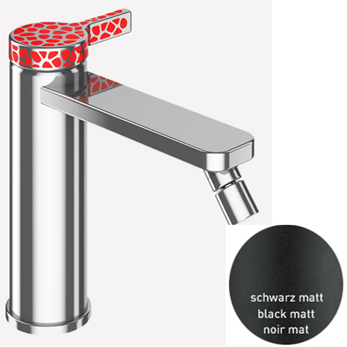 Single lever bidet mixer black matt and stainless steel with up and down pop-up waste,<br>AN: CO840101560_846