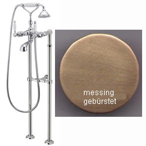 Nostalgic 2-handle bathtub mixer with floor connections and shower set bronze brush-finished,<br>AN: DO720801065