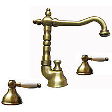 Nostalgic 2-handle 3-holes washbasin mixer with high swivel spout bronze brush-finished with pop-up waste,<br>AN: DO750202065