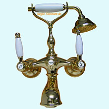 Nostalgic 2-handle bathtub mixer with shower set gold 24 Karat,<br>AN: DO720201010