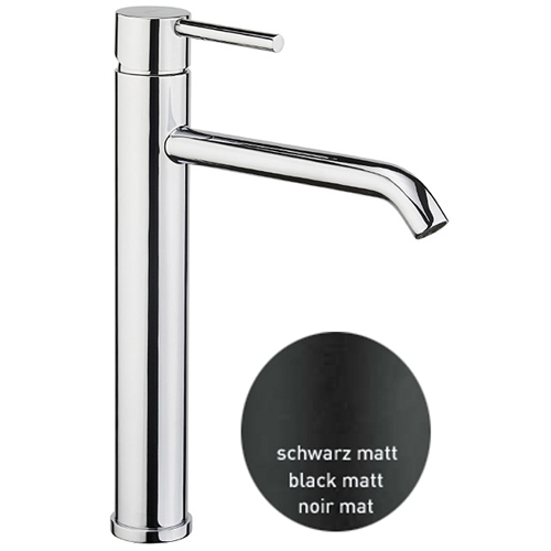 Single lever washbasin mixer extra high black matt with up and down pop-up waste,<br>AN: EL830401560