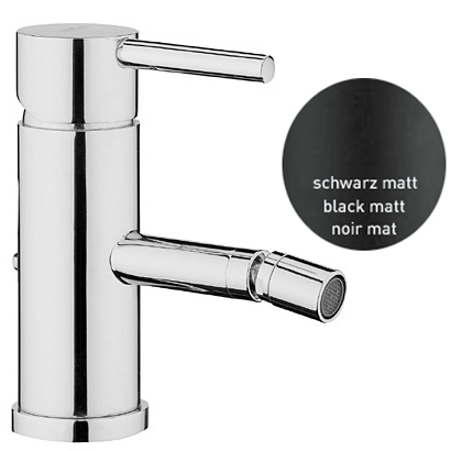 Single lever bidet mixer black matt with pop-up waste,<br>AN: EL840101560