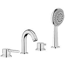 4-Loch Badewannenarmatur chrom für Wannenrand oder Fliesenbank mit Umsteller Einlauf und Handbrause, AN: EL850701015