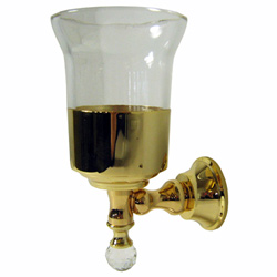 Wall mounted toothbrush tumbler with holder gold 24 Karat and original Swarovski Crystal,<br>AN: KA500301010