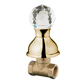 Built-in stop cock 1/2 inch gold 24 Karat with original Swarovski Crystal handle,<br>AN: KA690101010
