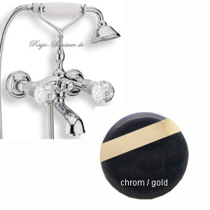 2-handle bathtub mixer with original Swarovski Crystal handle and shower set chrome / gold,<br>AN: KA720201017