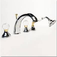 4-holes deck mounted bath mixer chrome / gold with original Swarovski Crystal handle,<br>AN: KA730101017
