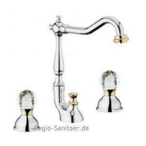 2-handle 3-holes washbasin mixer with high swivel spout chrome / gold with original Swarovski Crystal handle and pop-up waste,<br>AN: KA750202017