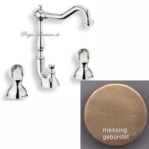 Hohe 3-Loch Waschtischarmatur messing gebürstet mit original Swarovski Crystal Griffe und Ablaufgarnitur AN: KA750202065